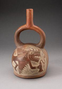 Stirrup Spout Vessel Incised with Anthropomorphic FishMoche, 100 B.C./A.D. 500 North coast, Peru   Ceramic and pigmentArt Institute of Chicago