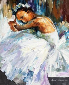 "Ballerina — PALETTE KNIFE(2) Oil Painting On Canvas By Leonid Afremov - Size: 16"" x 20"""