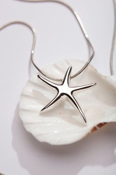 Sterling Silver Jewelry Starfish Necklace by AlmaValleJewelry, $49.99