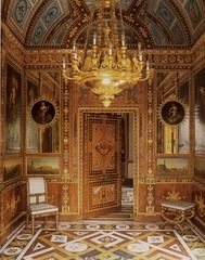 Platinum Room •c. 1800 •By Percier and Fontaine-made in Paris then installed in Spain •Mahogany paneling inlaid with platinum •Note the neoclassical motifs