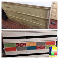 My first furniture DIY! Modge podge fabric, chalkboard paint, colored drawers (inside) just missing the new pulls :) -Stephanie