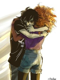 Nico di Angelo and Hazel Levesque / Heroes of Olympus / art by Minuiko