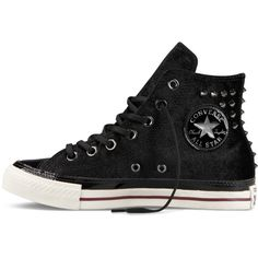 Converse Chuck Taylor Velvet Studs – black Sneakers ($100) ❤ liked on Polyvore featuring shoes, sneakers, converse sneakers, black sneakers, converse trainers, converse footwear and velvet shoes