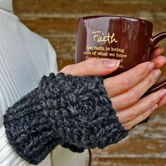Grab this Determination Fingerless Gloves Knitting Pattern. Knit up a new pair of gloves in a couple of hours while using up some leftover yarn! Fingerless Gloves Knitted, Crochet Gloves, Knit Mittens, Knit Or Crochet, Loom Knitting, Knitting Patterns Free, Free Knitting, Crochet Patterns, Crochet Ideas
