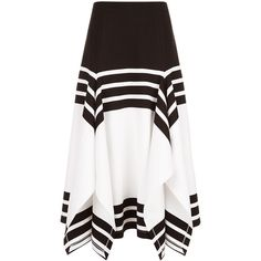 Rosetta Getty White Striped Scarf Hem Skirt ($1,185) ❤ liked on Polyvore featuring skirts, stretchy skirt, white striped skirt, holiday skirts, evening skirts and stripe skirt