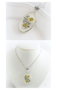 White camomile white flower pendant Real Flower by JuliaCreaStyle
