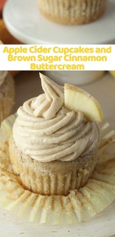 Moist and flavorful recipe for Apple Cider Cupcakes made from scratch with Brown Sugar Cinnamon Buttercream Frosting makes for a mouthwatering fall dessert! Moist and flavorful recipe for Apple Cider Cupcak Köstliche Desserts, Delicious Desserts, Cinnamon Desserts, Apple Cinnamon Cupcakes Recipe, Apple Cupcakes, Delicious Cupcakes, Healthy Desserts, Apple Recipes, Fall Recipes
