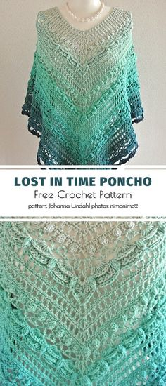 Lost in Time Shawl. With a bit of experience and invention, you can easily transform this timeless shawl into a trendy poncho. Get creative with the pattern, adjust the sizes to suit your needs and en Easy Crochet, Knit Crochet, Crochet Shawl Free, Lost In Time Shawl, Crochet Stitches, Crochet Patterns, Poncho Knitting Patterns, Scarf Patterns, Crochet Shawls And Wraps
