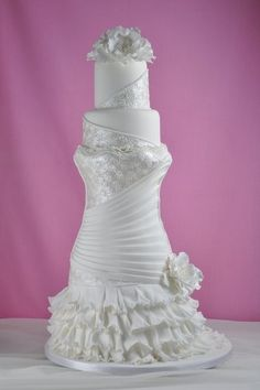 Why do we like wedding dress cakes? Check spectacular cake designs out here. Choose wedding dress cake for bridal shower from our collection! Beautiful Wedding Cakes, Gorgeous Cakes, Pretty Cakes, Cute Cakes, Amazing Cakes, Elegant Wedding, Wedding Cakes With Cupcakes, White Wedding Cakes, Cupcake Cakes