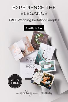Claim your free wedding sample kit. Experience elegant invitations, just enter your wedding date and order. Whether your perfect day calls for simple, modern, or rustic designs, you can easily create the perfect wedding cards. Free Wedding Invitation Samples, Elegant Invitations, Wedding Invitations, Menu Cards, Foil Stamping, Rustic Design, Wedding Inspiration, Inspiration Boards, Letterpress