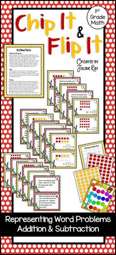 """Your students will love playing """"Chip It & Flip It"""" as they master TEKS 1.5D: representing word problems involving addition and subtraction up to 20 using models. Included in this product (see preview for pics) Instructions 20 task cards (with representations and answers on flip side) Colorful game board Ten frame work mat printable flip chips (in case you do not have a set of these math manipulatives)"""