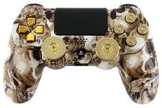Golden Toxic Skulls Custom PS4 Controller $179.95 http://rapidfiregamer.com/golden-toxic-skulls-custom-ps4-controller/ #moddedcontrollers #PS4moddedcontroller #PS4controllermod