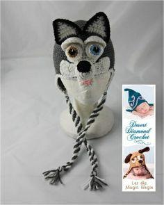 Crochet Pattern 060 - Siberian Husky Earflap Hat - All Sizes | desertdiamond - Patterns on ArtFire.