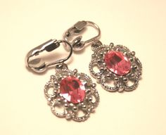 Vintage pink crystal earrings. Clip on by chicvintageboutique, $12.00