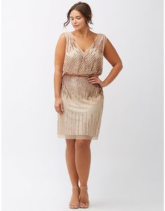 Sequined sleeveless dress by Adrianna Papell | Lane Bryant