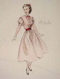 Edith Head - Anna Marie Alberghetti - Stars are Singing, 1953 Vintage Fashion Sketches, Fashion Illustration Vintage, Fashion Design Sketches, Costume Design Sketch, Best Costume Design, Vestidos Vintage, Vintage Dresses, Vintage Outfits, Hollywood Costume