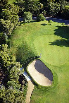 Vista aérea del campo de golf, Costa del Sol, provincia de Málaga, Andalucía, España