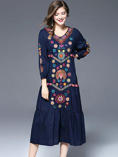 Vintage V-Neck Long Sleeve Embroidery Shift Dress; Size: S,M,L; Color: Blue; Material: Cotton; Style: Vintage; Silhouette: A-Line Dresses; Pattern Type: Print; Decoration: Embroidery; Dresses Length: Mid-Calf; Sleeve Style: Regular; Sleeve Length: Wrist; Waistline: Natural; Neckline: O-Neck; ; Price: US$ 49.49