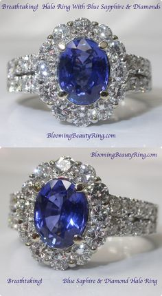 A breathtakingly beautiful Oval Shape Blue Sapphire surrounded by a halo of top quality sparkling diamonds.  Set in an 18 karat White Gold mount.    http://www.BloomingBeautyRing.com  (213) 222-8868