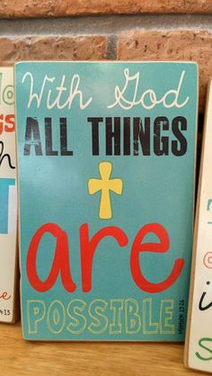 Scripture Art, Bible Verse Art, Faith Based Art, Matthew 19:26, 5x8 art print on wood. $16.00, via Etsy.