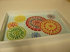 Mosaic Tray, Mosaic Tile Art, Mosaic Artwork, Mosaic Glass, Tile Crafts, Mosaic Crafts, Mosaic Projects, Stained Glass Patterns, Mosaic Patterns