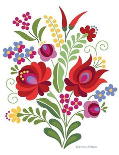 Hungarian Folk Design Red Rose and Peppers - Kunst Tätowierung Hungarian Embroidery, Crewel Embroidery, Embroidery Patterns, Hungarian Tattoo, Indian Embroidery, Embroidery Thread, Folk Art Flowers, Flower Art, Painting Patterns