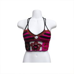 Fuchsia & Autumn Flower! Find this crop top and more crocheted apparel @ www.kandichet.com!