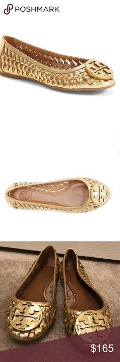 0b2b7cd704c Tory Burch Huarache gold leather ballet flats 7.5
