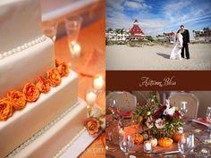 Autumn Wedding by the Sea. Love the mini pumpkins.