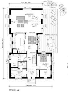 Villa Marieholm – Vackert långsträckt U-format Interior Design Presentation, Plan Design, Design Reference, Planer, Interior Architecture, Bungalow, Life Is Good, House Plans, Floor Plans
