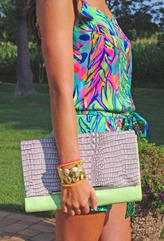 Lilly Pulitzer Deanna Romper in Hot Spot & Tusk Tusk Cuff worn by Brynn There Wore That