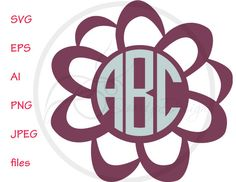 SVG Floral Monogram Vector Files Floral, Monogram EPS Flowers, PNG for Cutting Machines, Cutting Files Floral, Silhouette Monogram Flowers