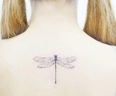 Single needle dragonfly tattoo by Banul