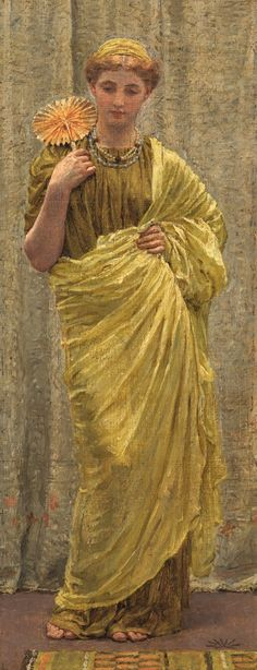 Albert Joseph Moore (1841 – 1893), The Gilded Fan, signed with anthemion device l.r., oil on canvas laid on board, 38 by 14.5cm., Sotheby's