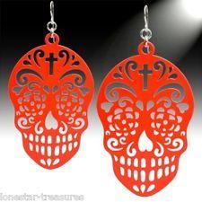 """Mexican Sugar Skull Dia de los Muertos Dark Coral Dangle Earrings 3"""" NWT"""