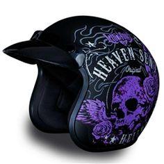 Retro style helmet for cruiser girls, women's helmet with purple heaven sent hellbound, lethal angel graphics by Daytona.
