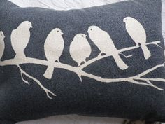 Hand printed midnight blues bird on a branch by helkatdesign, $64.00