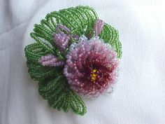 CARNEGIE  2-1/2 three-tone pink and green beaded flower brooch.
