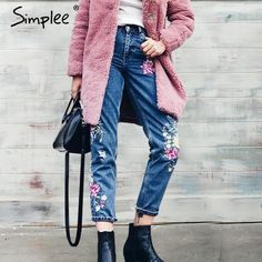 Offer Today $26.59, Buy Simplee Flower embroidery jeans female High waist birds zipper straight denim pants jeans Women 2017 pocket blue trousers jeans