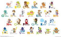 star wars cartoon alphabet (baby boy nursery ideas)
