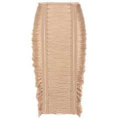 Balmain Ruched Skirt (42.060 RUB) ❤ liked on Polyvore featuring skirts, dresses, neutrals, shirred skirt, ruched skirt, balmain, balmain skirt and red skirt