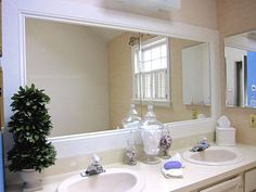 Frame your bathroom mirror with baseboard trim:   31 Gorgeous Furniture Upgrades That Only Look Expensive