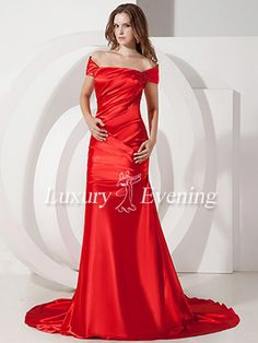 Red Mermaid Long Ruched Off The Shoulder Cap Sleeve Evening Dress - US$ 112.99 - Style E0473 - Luxury Evening