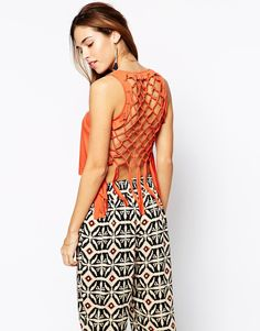 Image 1 of Kiss The Sky Crochet Crop Vest With Lattice Back
