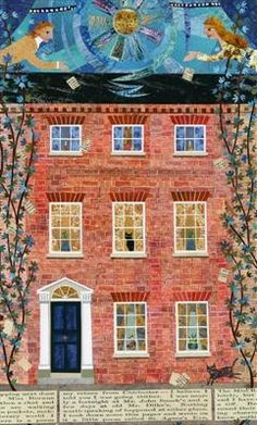The Eve of St Agnes.  Cut paper collage of 11 Eastgate Square, Chichester, where Keats began to write one of his finest poems.