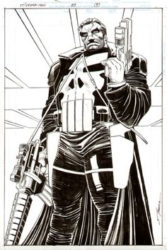 the Punisher by John Romita, Jr., with Inks by Klaus Janson. Female Comic Characters, Comic Book Characters, John Romita Jr, Punisher Art, Marvel Comic Universe, Comic Illustration, Cartoons Comics, Romita, Jr Art