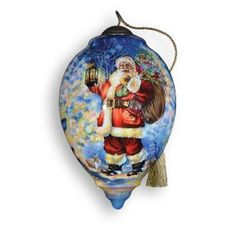 "Ne'Qwa 5.5"" Ne'Qwa ""Woodland Santa"" Hand-Painted Glass Christmas Ornament #558 Christmas Ornaments  - Ne'Qwa,Bedding Sets, Queen Bedding, King Bedding, Laura Ashley Bedding, Comforters, Down Comforters, Dorm Bedding, Sheet sets, Linens, Home decor, Duvet covers, Twin XL sheets, Queen comforter sets,..."