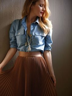 Introduce a boyish chambray top to a feminine pleated skirt and the results are quite romantic (ah, young love).