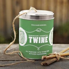 Gardener's Essential Twine #WilliamsSonoma.. I have tons of cute tins, I can make as a twine dispenser.