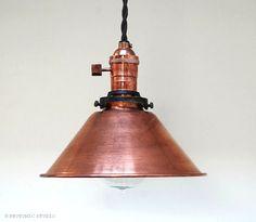 Copper Pendant Light - industrial Pendant Light - Vintage Antique Retro -  Edison Swag Lamp -  Antiqued  Weathered Copper - Cone Shade  - H6